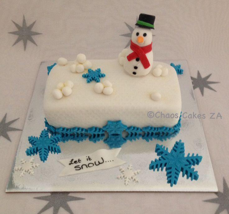 Let it Snow white fondant Christmas Cake by Chaos Cakes ZA