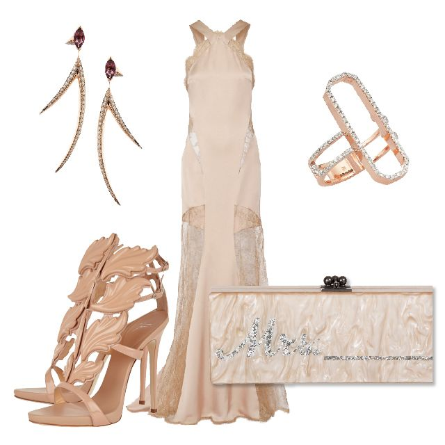 Full rose gold outfit for a distinguished rehearsal dinner! | WedLuxe Magazine | #wedding #luxury #weddinginspiration #rehearsaldinner #bridal #style #fashion