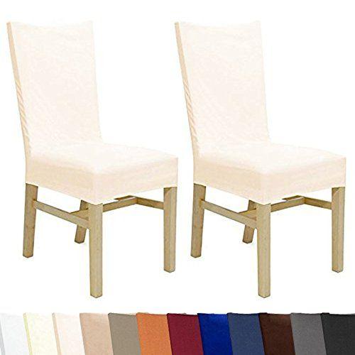 2er Set Stuhlbezug Stuhlhusse Bi-elastic - bis 45cm Sitzfl�che und 70cm R�ckenh�he - mit �ko-Tex Siegel - Ecru