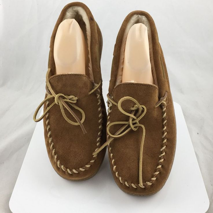 Minnetonka Mens Suede Moccasins Slippers Brown 3902W Size 11 New #Minnetonka #MoccasinSlippers
