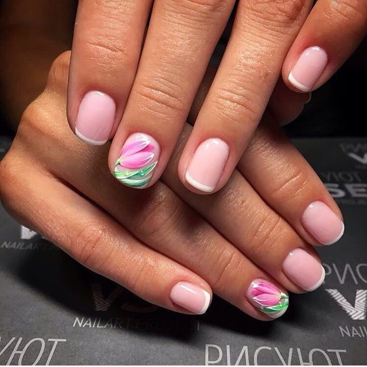 Drawings on nails, Evening dress nails, Festive nails, flower nail art, French…  http://miascollection.com