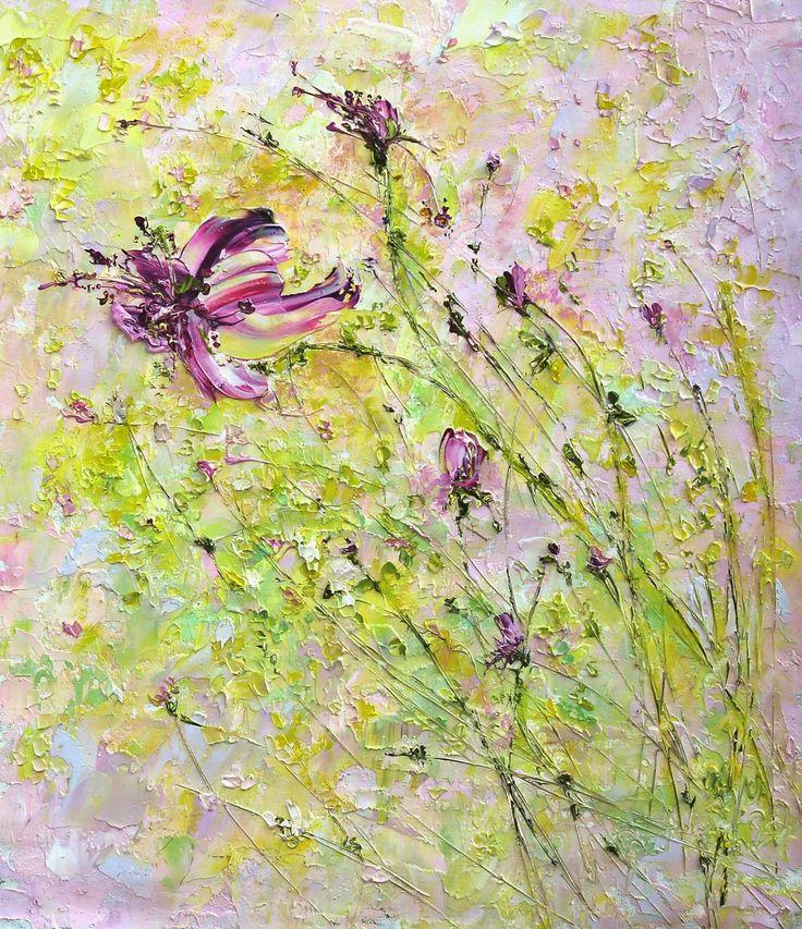 Яркая летняя желтая розовая картина с цветами. Марина Маткина. Импасто.