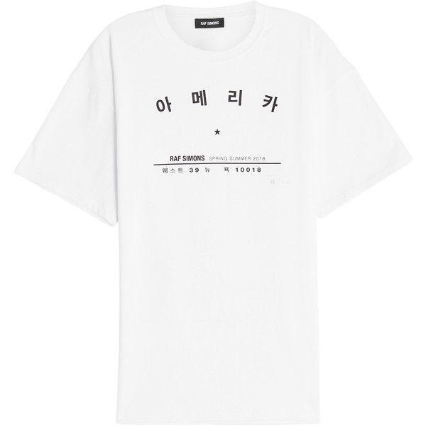 Raf Simons Printed Cotton T-Shirt (€229) ❤ liked on Polyvore featuring men's fashion, men's clothing, men's shirts, men's t-shirts, white, white top, white t shirt, raf simons tee, raf simons and raf simons t shirt