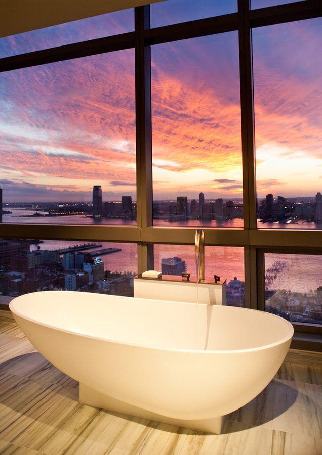 Vanuit je badkuip uitzicht op New York, USA #luxe #hotel