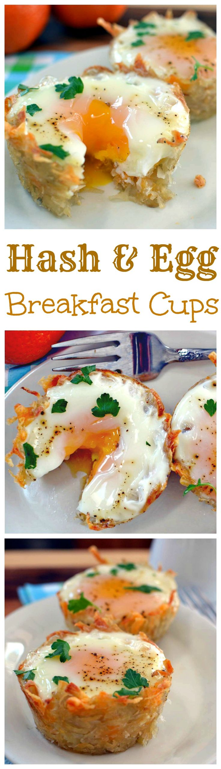 A cup of extra crispy hash cups with a perfectly cooked egg inside- easy to make and only 2 ingredients necessary. A perfect way to enjoy brunch!