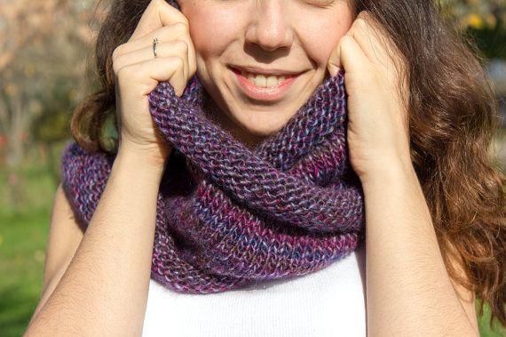 Purple Pink Infinity Scarf  Hand Knit  winter scarfs by detcraft