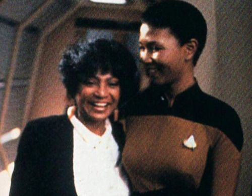 Mae Jemison (the first Black astronaut) and Nichelle Nichols hanging out on the ST: TNG set. How epic is that!