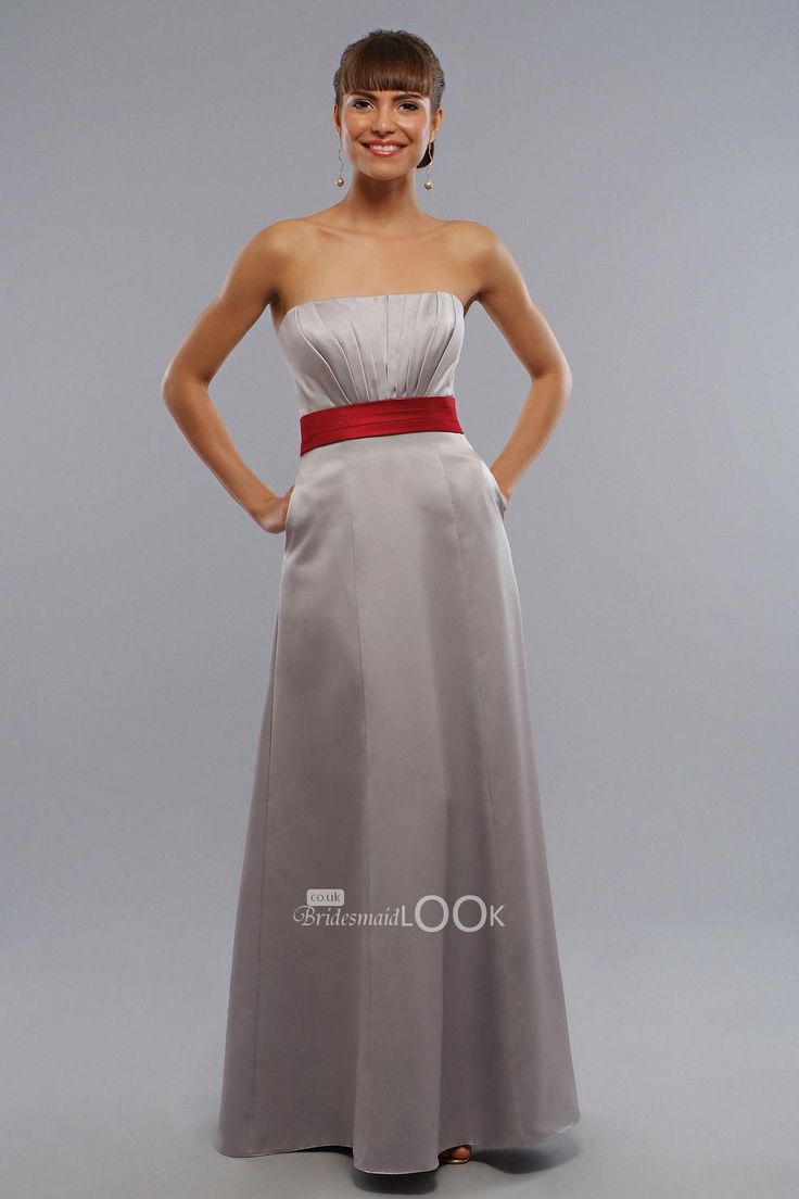 45 best dresses images on pinterest marriage bridesmaid ideas strapless silver bridesmaid dress with red belt ombrellifo Images