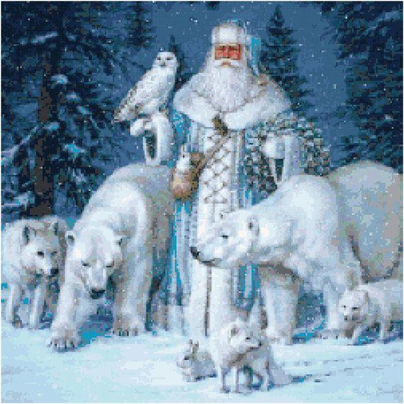 Santa with Animals 5 Cross Stitch Pattern