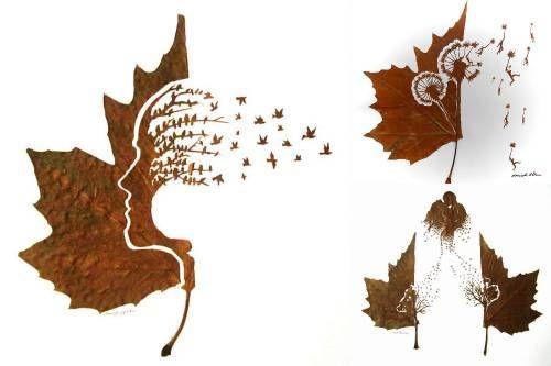 Leaves art by Omid Asadi - L'arte con le foglie di Omid Asadi - #art #leaves #green #eco