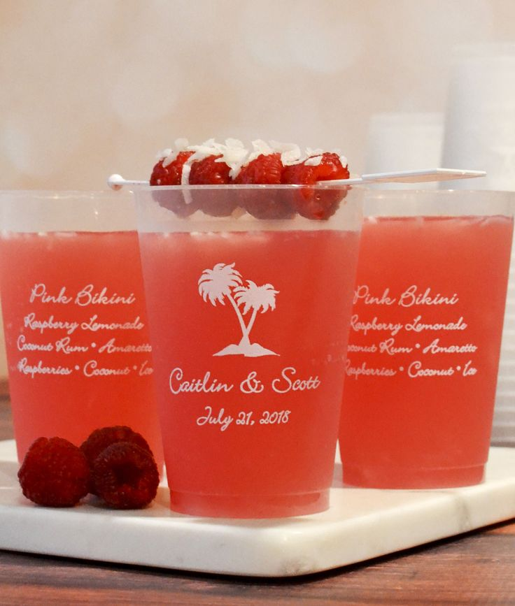 The perfect destination or beach wedding accessory guests can take home as souvenirs, shatterproof frosted plastic cups personalized with a design, the bride and groom's name and wedding date won't break if dropped on a hard surface and are dishwasher-safe and BPA free so they're reusable. 12 Ounce cups are the right size for punch, lemonade, or fruity signature drinks. These cups can be ordered at http://myweddingreceptionideas.com/12_oz_personalized_frosted_plastic_cups.asp
