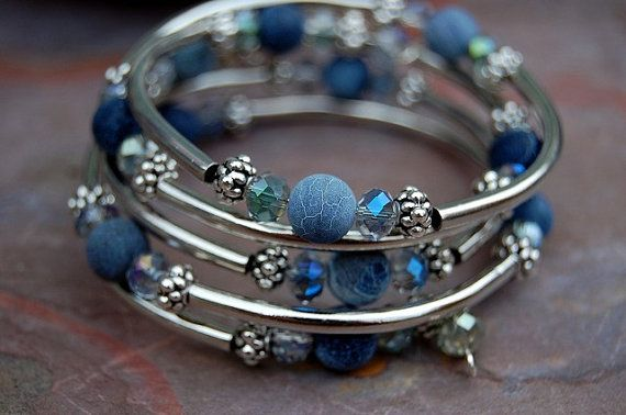 Blue Denim Agate Memory Wire Bracelet