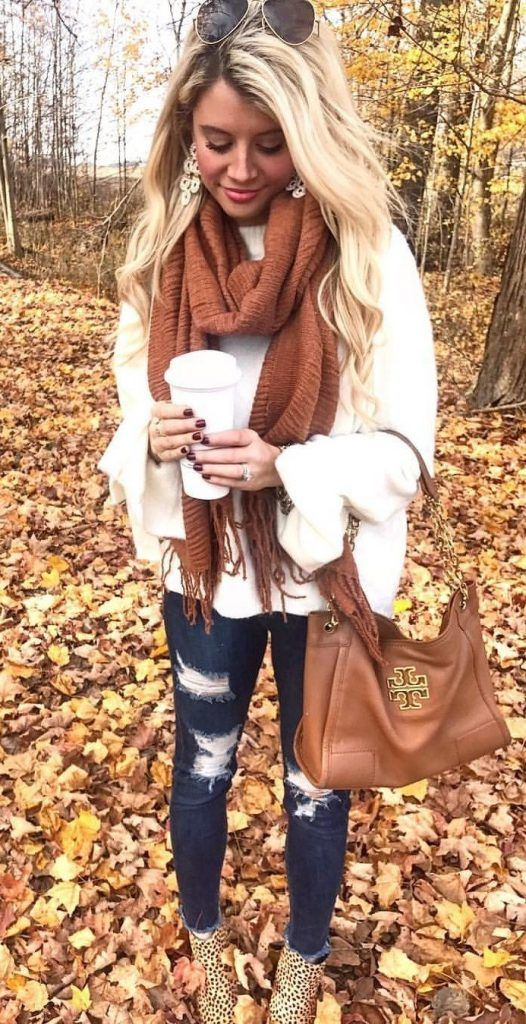 #Winter #Outfits / Brown Knit Scarf - Ripped Jeans