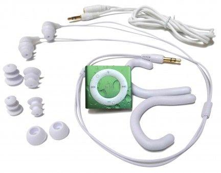 Swimbuds with green iPod