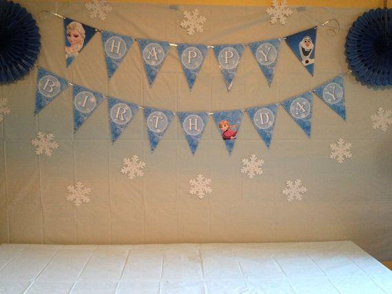 Digital File - Frozen Theme Happy Birthday Flag Banner on Etsy, $10.00 CAD