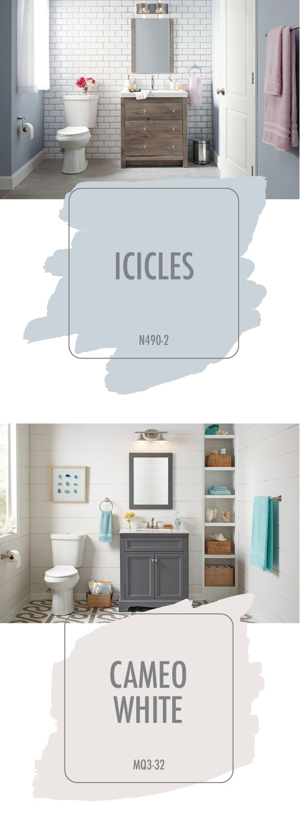 Looking for a little color inspiration to use in your home? Check out the gorgeous neutral shades of Icicles and Cameo White from BEHR Paint. These modern hues look great in a neutral bathroom color palette. Check out this article from The Home Depot to see how you can incorporate these colors with other interior design trends, like marble countertops, shiplap walls, and stand-alone vanities.