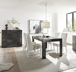Sala completa di tavolo e 2 madie, grigio serigrafato