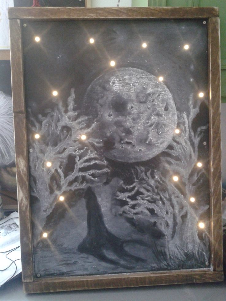 wooden blackboard with lights /Ana White plan/