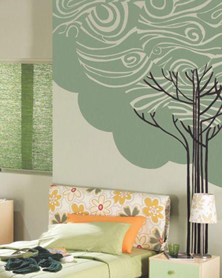 Ζωγραφική στον τοίχο εφηβικού δωματίου με γραμμικό δέντρο. Δείτε περισσότερα ζωγραφικά θέματα για το παιδικό ή εφηφικό δωμάτιο στη σελίδα μας www.artease.gr