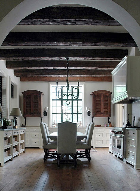 like the two wood cabinets with all the white rustic wood beams bill litchfield designs