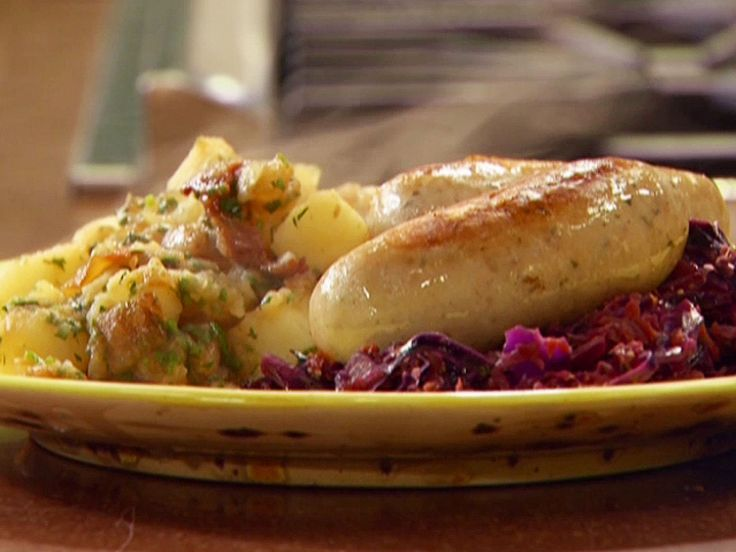 Braised Bockwurst and Warm Vegetable-Hard Cider 'Kraut with German Style Potatoes recipe from Rachael Ray via Food Network