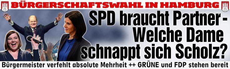 Nach Wahlsieg in HamburgWelche Dame schnappt sich Olaf Scholz? SPD-Bürgermeister Olaf Scholz holt 46,5 Prozent, verliert aber absolute Mehrheit ++ Jetzt kann wählen zwischen den Grünen und der FDP ++ CDU stürzt ab auf 16,0 Prozent ++ AfD zieht mit 6,1 Prozent in die Bürgerschaft ein http://www.bild.de/politik/inland/wahlen-hamburg/ergebnisse-zur-hamburg-wahl-haelt-buergermeister-olaf-scholz-die-absolute-mehrheit-39782464.bild.html