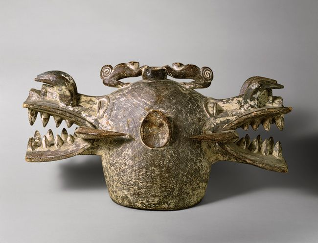 Africa | Janus Helmet Mask (Wanyugo), 19th–mid-20th century | Côte d'Ivoire; Senufo | Wood, pigment