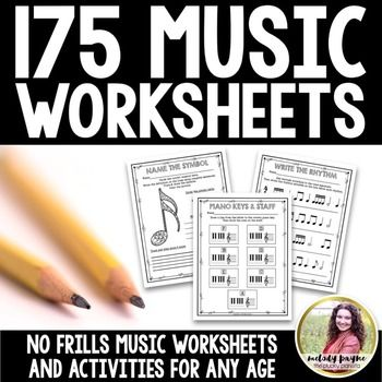 175 pages of no prep music worksheets, perfect for piano classes, music theory classes, music appreciation or beginning music classes, music camps, assessments, review, homework, early finishers, center work, group lessons, the sub tub, beginning music adult education classes, and much more. #pluckypianista #elmused #pianoteaching #musictpt #musictheory
