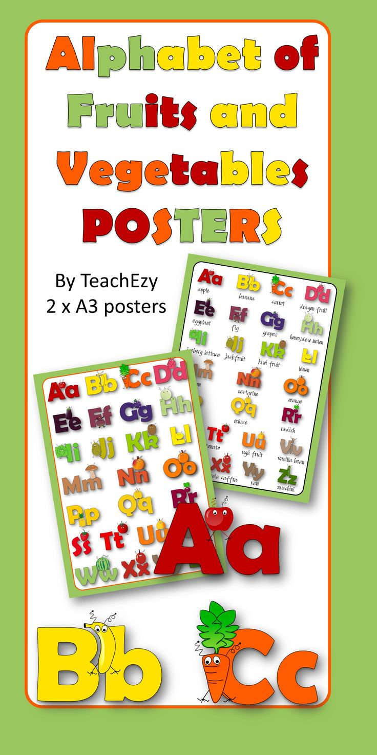 2 posters for the classroom or home - alphabet of fruits and vegetables using fruits and vegetables monsters.