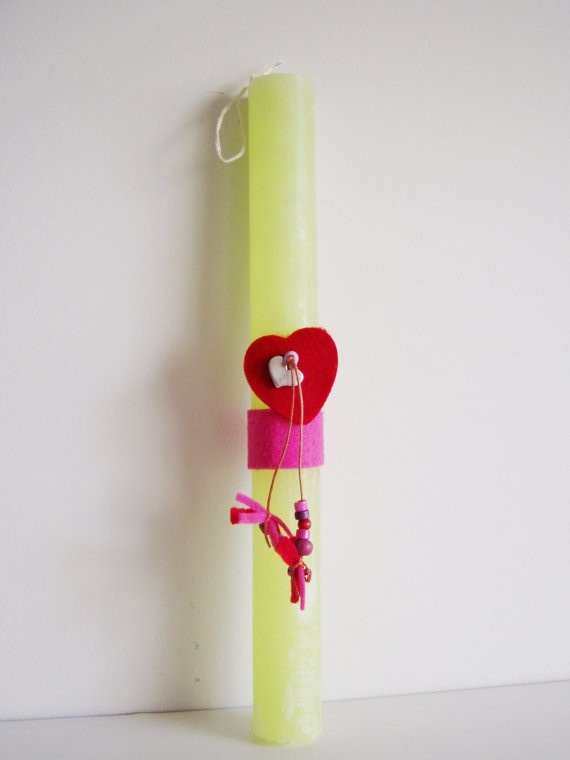 Red Felt Heart Easter Candle, $30.00 at Greek Wedding Shop ~ http://www.greekweddingshop.com/