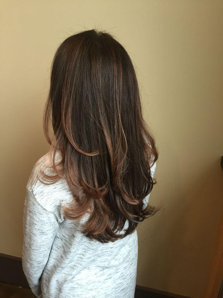 Subtle balayage haircut blowout brunette