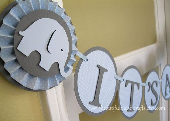 Baby Blue and Grey Its a Boy - Baby Elephant Banner -