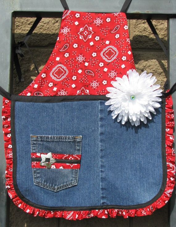 Girl's Apron Made From Recycled Denim Jeans - OOAK - Child's Denim Apron. $10.00, via Etsy.