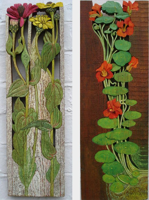 Zinnia's bas-relief, painted Nasturtiums bas-relief, painted