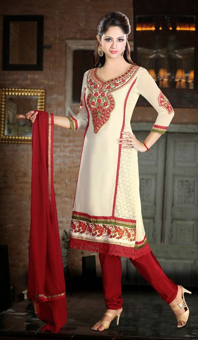 USD 90.8 Off White Churidar Salwar Kameez 32580