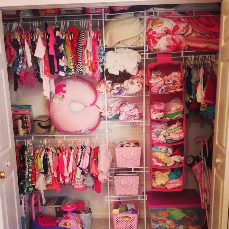 Nursery closet organization! Love me some pink:)