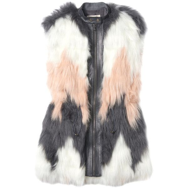 Rebecca Taylor Patch Faux Fur Vest found on Polyvore featuring outerwear, vests, jackets, coats & jackets, tops, pink combo, faux fur waistcoat, cinch vest, patch vest and pink vest