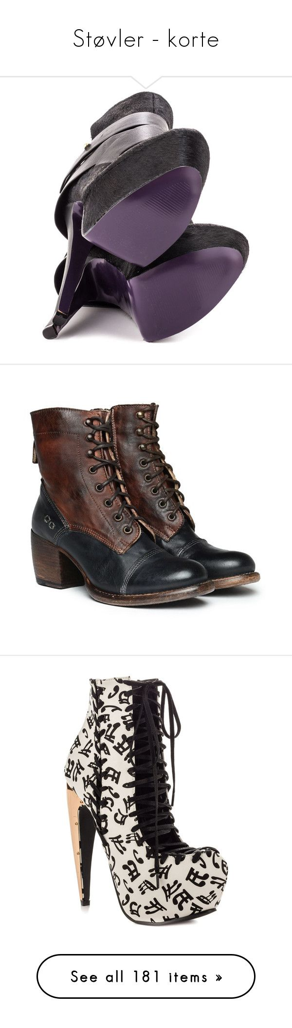 """""""Støvler - korte"""" by louvillia ❤ liked on Polyvore featuring shoes, boots, ankle booties, heels, platform booties, black stiletto booties, black heeled boots, black bootie, black ankle boots and laced ankle boots"""
