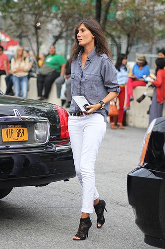 peep toe boots, white jeans, chambray shirt