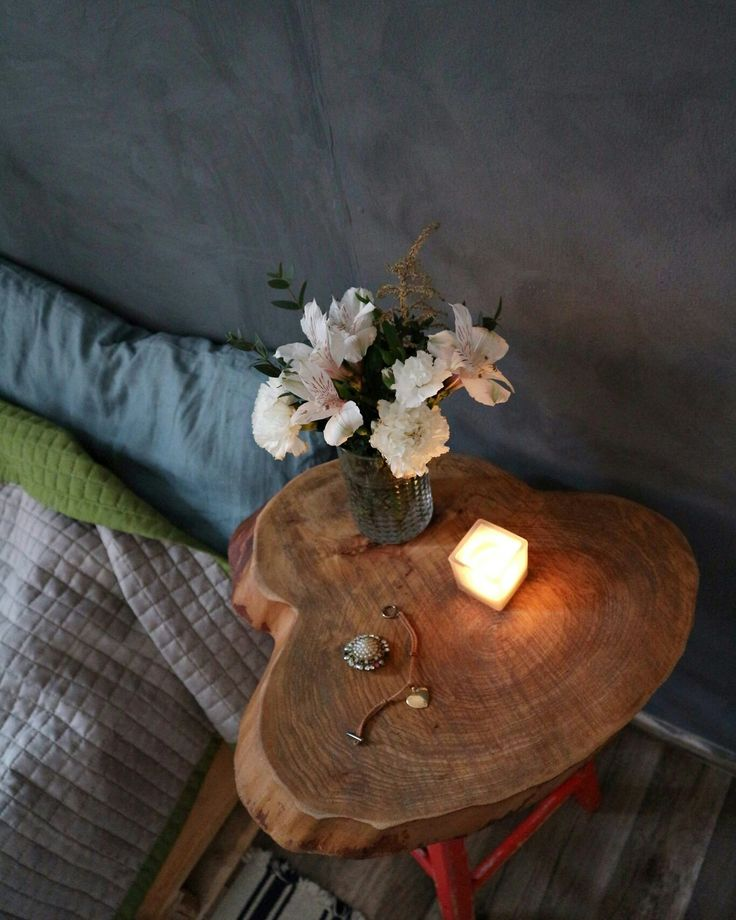 Bedroom wooden table and decor