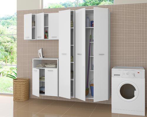 Os módulos deste armário de lavanderia são vendidos separadamente na Peg&Faça. Os preços variam de R$ 104,90 a R$ 419,90 dependendo do tamanho.
