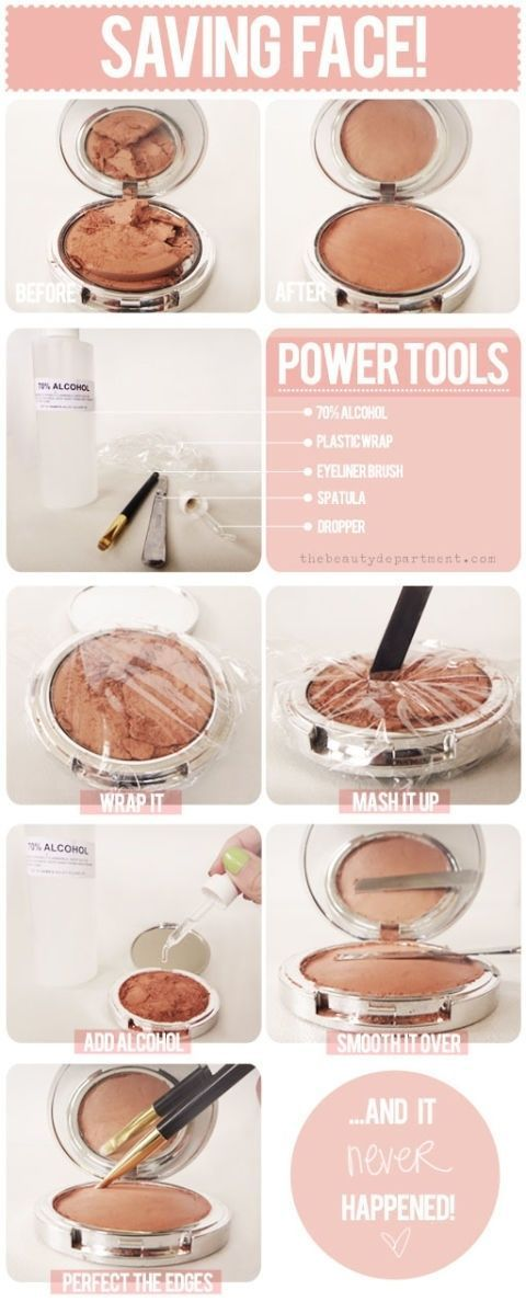 Repair broken blush, eyeshadow, bronzer, cover up and more with this genius idea. Use a little rubbing alcohol and plastic wrap to fix any broken compact.  Get the tutorial atThe Beauty Department.
