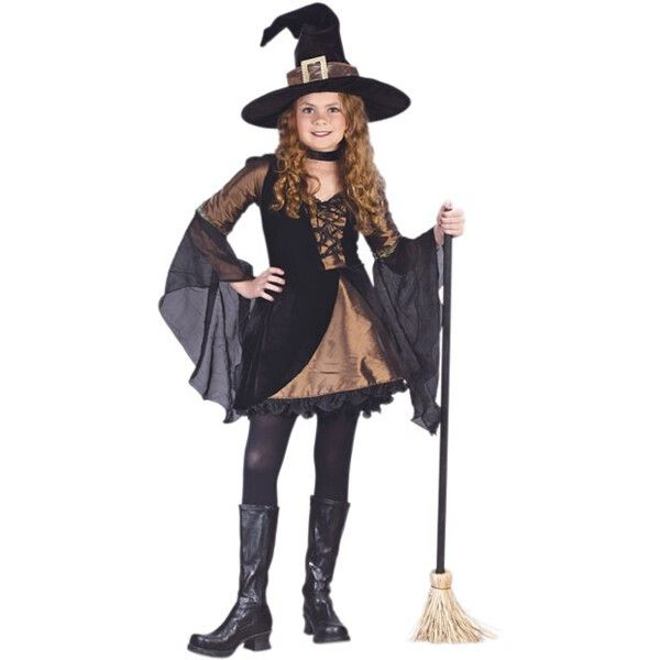Our kid's sweetie witch dress is a fashionable girl's witch costume. This classic kid's Halloween costume is great for any costume party or any other Halloween costume events. - Black and bronze witch