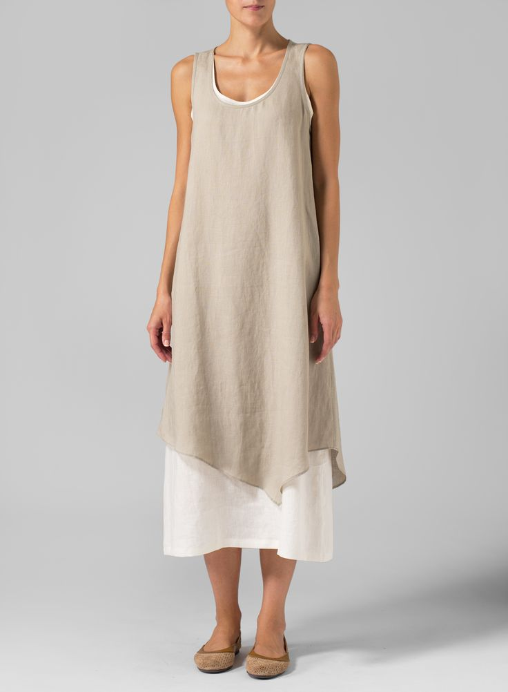 Linen Double Layered Long Dress | Casual cool, simple and regular loose fitting lines of this VIVID Linen dress reveals a slash of color with layered construction. Perfect for everyday activities.