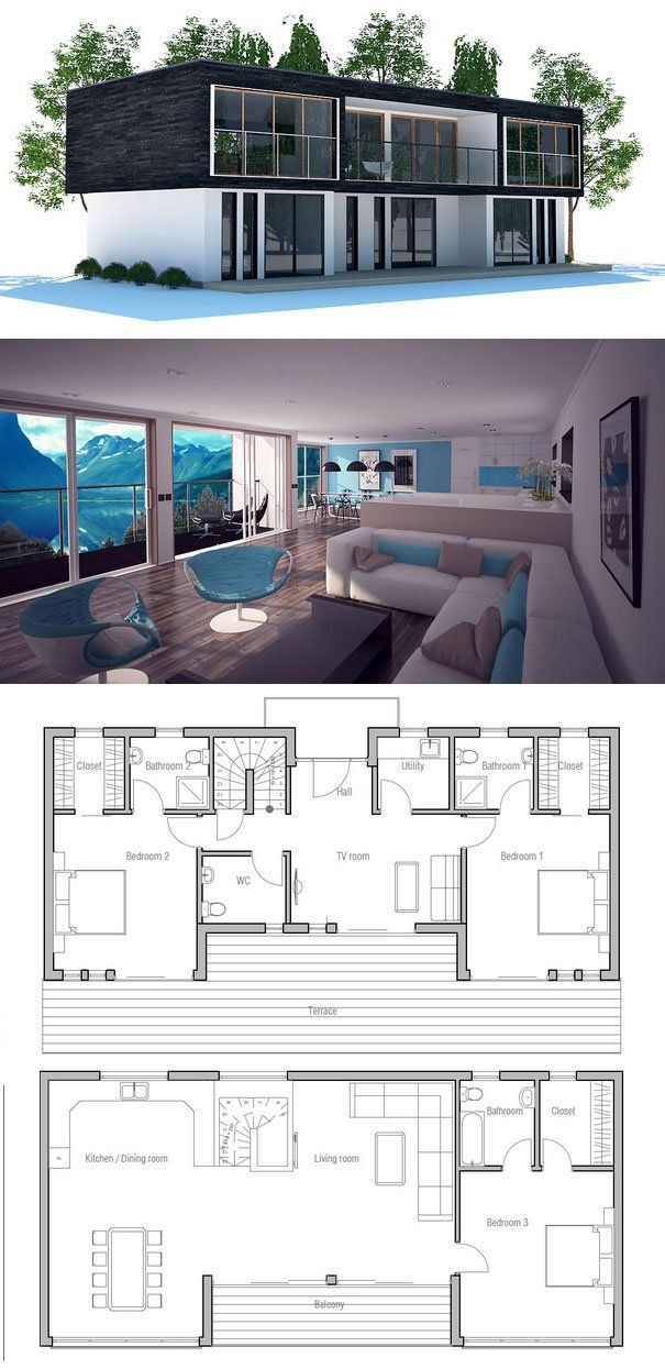 Contemporary home plan with open planning and three bedrooms, living room on the second floor. Floor Plan from ConceptHome.com