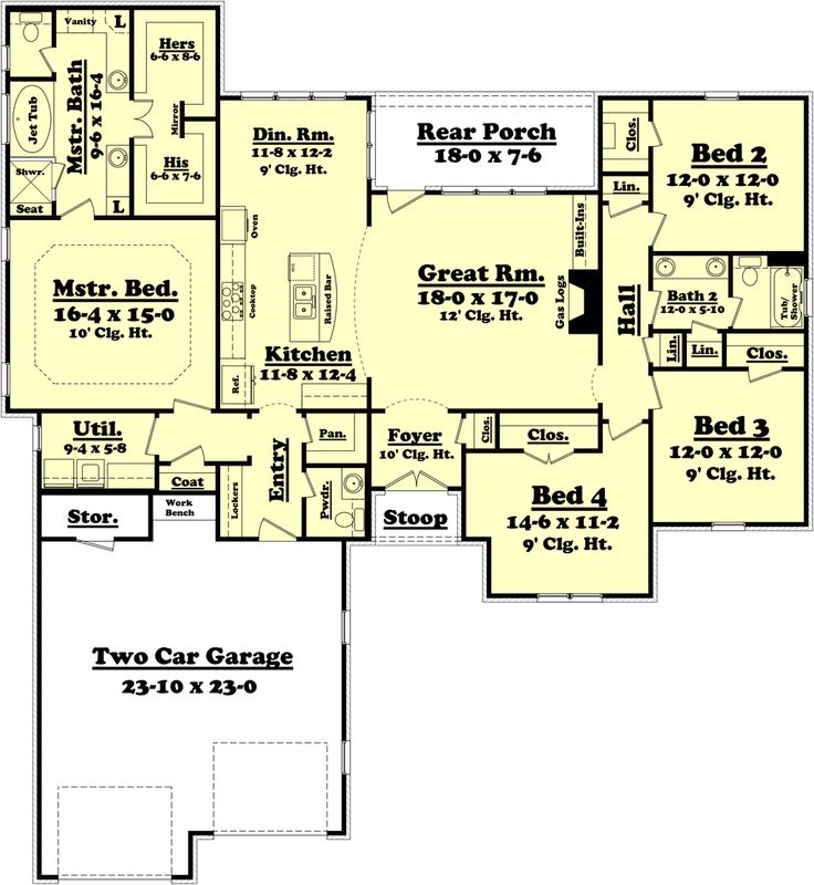 Houseplans.com Traditional Main Floor Plan Plan #430-75