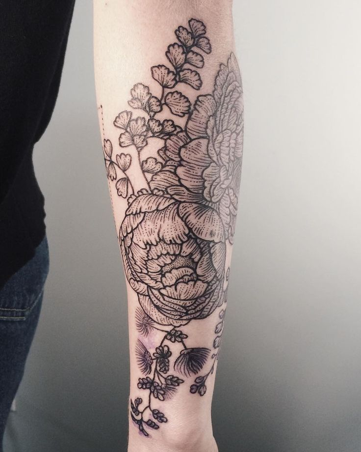 Peonies, mimosa, and maidenhair fern tattoo by Tenderfoot Studios