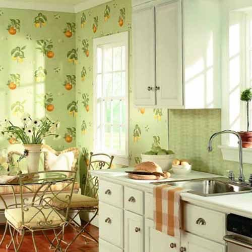 Cute tiny kitchen with outdoor table and retro wallpaper