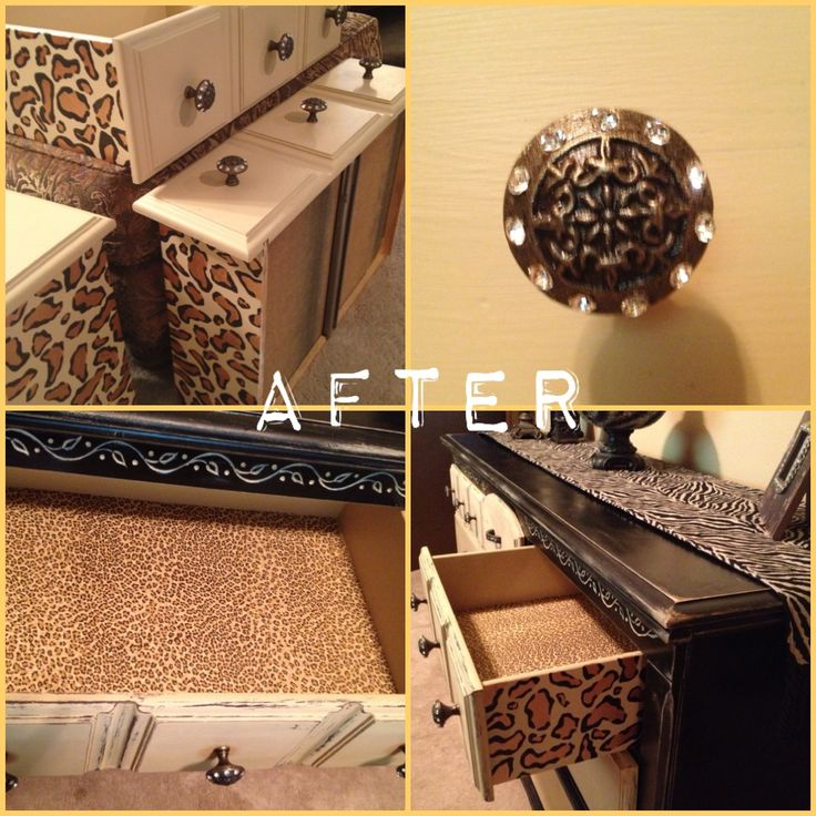 Black & Cream Glamorous Dresser with Hand Painted Cheetah Print Drawers by Southern Comfort Boutique  http://www.facebook.com/southerncomfortboutiqueokc