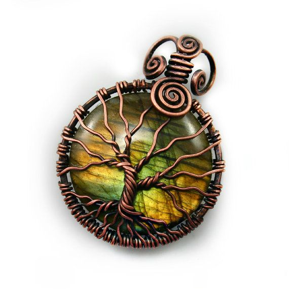 Natural Labradorite tree of life pendant by DreamingTreesJewelry, $145.00